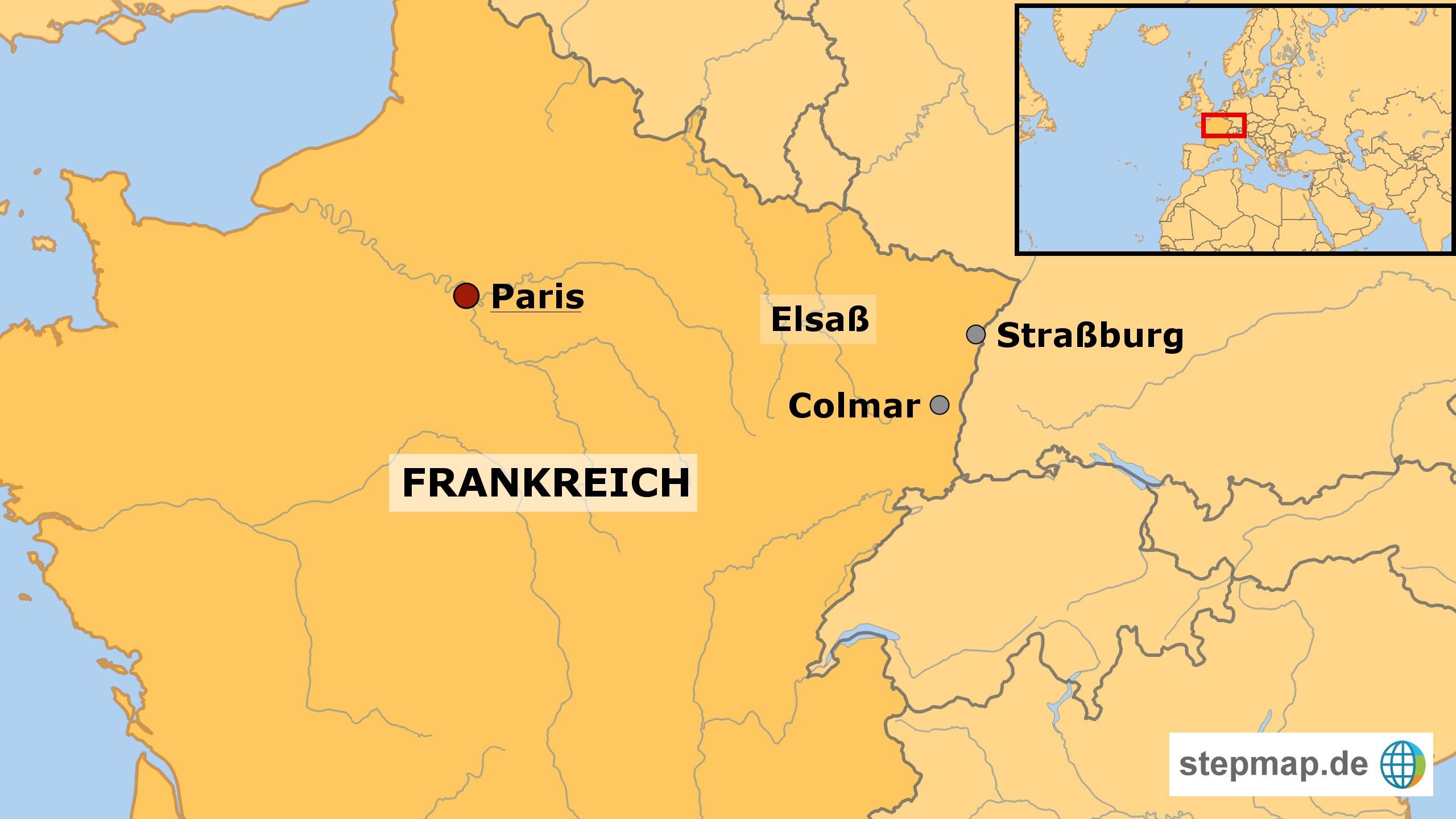 Elsass Karte Colmar.Standortreise Frankreich Weinregion Elsass